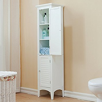 Bayfield White 2-door Linen Tower by Elegant Home Fashions