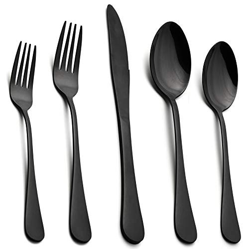 Black Flatware Silverware Set, LIANYU 40-Piece Stainless Steel Cutlery Set for 8, Restaurant Party Tableware Eating Utensils, Mirror Finish, Dishwasher Safe (Best Stainless Steel Cutlery)