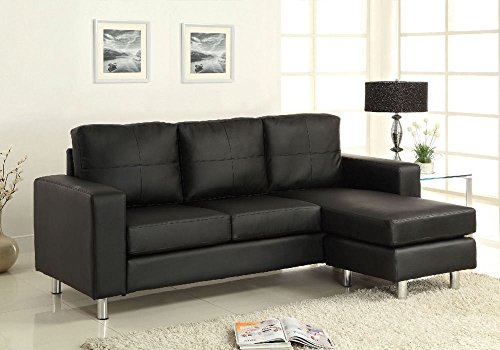 1PerfectChoice Avon Living Room Sectional Sofa Chaise Convertible Ottoman Black Leatherette NEW