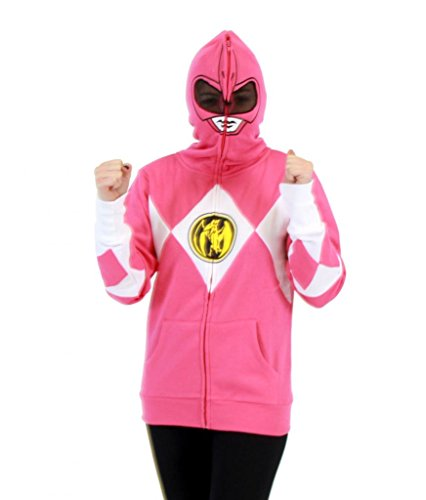 Power Rangers I Am Pink Ranger Full Zip Costume Hoodie Sweatshirt (X-Large)]()