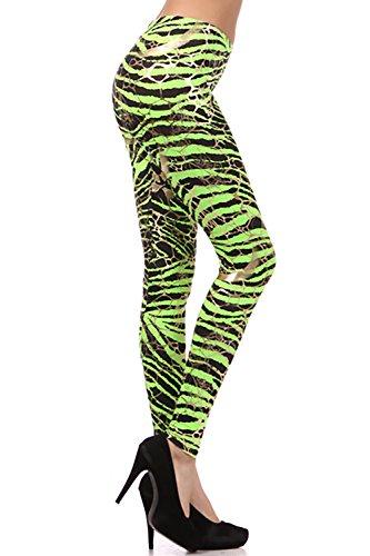 Neon Metallic Animal Zebra Print Leggings w/ Gold Accents Pants (Small, Neon Green)