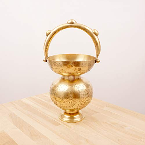Vases Hindu - Brass vase with Handle on top/Over The top || Vintage Solid Brass || India Hindu Symbols