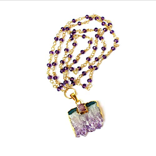 Amethyst Druzy Slice Gold Plated Rosary Chain Pendant Necklace 30 Inch Length