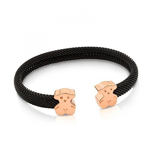 TOUS Steel and Rose Vermeil Bear Mesh Cuff Bracelet