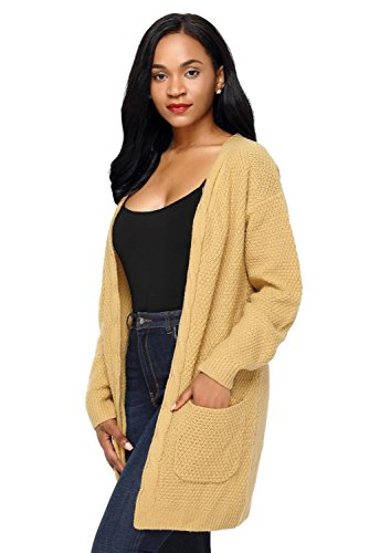 LADY Stylish Cardigan Khaki Front and Pocket Open Sweater Elegant Long ART Women's FSqgwdnaF