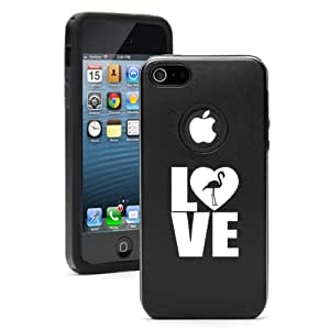 Apple iPhone 5c Black CD6288 Aluminum & Silicone Case Cover Love Flamingo