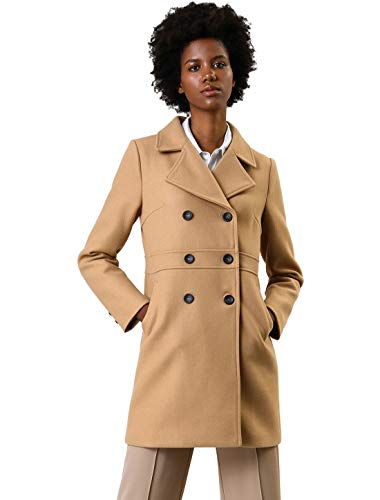 (Allegra K Women's Double Breasted Notched Lapel Long Winter Coats XS Khaki)