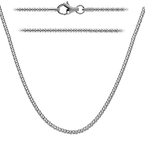 Kezef Creations Italian Sterling Silver, Gold Plated & Rose Gold Plated 1.6mm Coreana Popcorn Chain Necklace 14 - 36 Inch