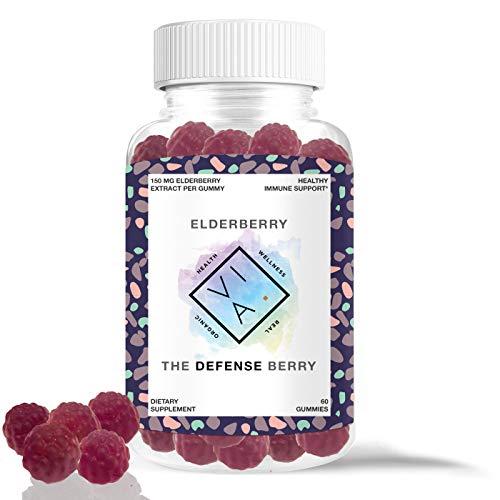 VIA Natural Elderberry Immune Support Gummies Max Strength with Vitamin C and Zinc, Gluten Free, Non-GMO (60 Gummies) ()