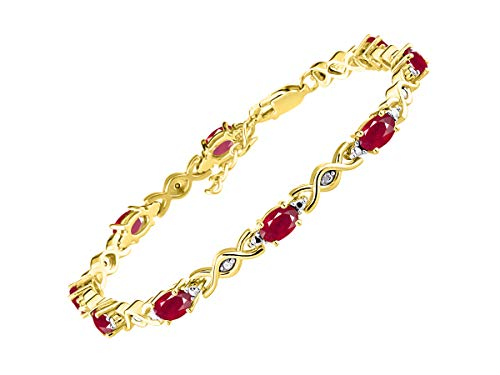 Stunning Ruby & Diamond XOXO Hugs & Kisses Tennis Bracelet Set in Yellow Gold Plated Silver - Adjustable to fit 7
