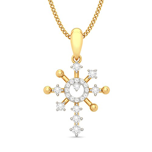 18 K Or jaune 0,43 CT TW Round-cut-diamond (IJ | SI) Pendentif
