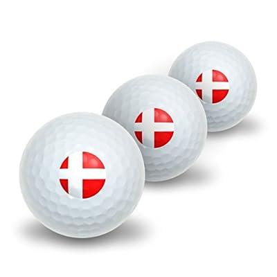 Denmark Danish Flag Novelty Golf Balls 3 Pack