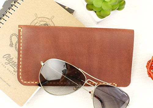 Soft Eyeglass Case Real Crazy Horse Leather - Eyeglass Case - Engraving is optional - Gift for men - Gift for women - Anniversary Gift - Christmas gift +FREE LEATHER GIFT! (Prada Brown Belt)