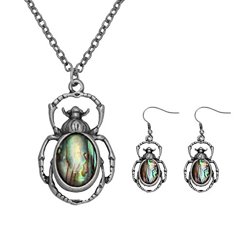 MANZHEN Antique Bronze Abalone Shell Bug Wildlife Necklace Scarab Earring Woodland Animal Jewelry Set (Antique silver (Animal Silver Jewelry Set)