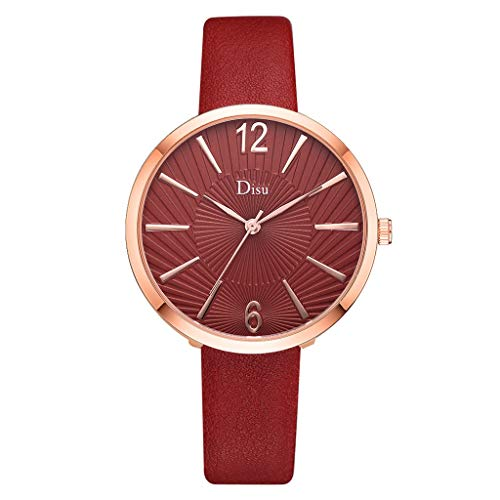 Watches for Women,Ladies Classic Big Face Dial WristWatch for Women Brand Disu Analog Quartz Watches with Leather Band(E,Gifts for Goddess)