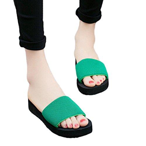 Ouneed® Damen Sandalen , Damen Sommer Sandalen Slipper Indoor Outdoor Flip-Flops Strand Plattform Wedges Schuhe Grün