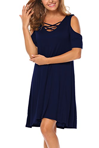 BLUETIME Women Plus Size Sunddress Short Sleeve Tunic Top T-Shirt Swing Dress (XXL, Navy Blue)
