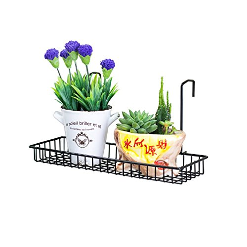 Chris-Wang Iron Wire Outdoor Rectangle Plant Caddy, Patio Fence Deck Porches Railing Shelf Flower Pots and More Holder, Space-Saving Office Cubicle Grid Works Sundries Storage Rack(Black) by Chris-Wang