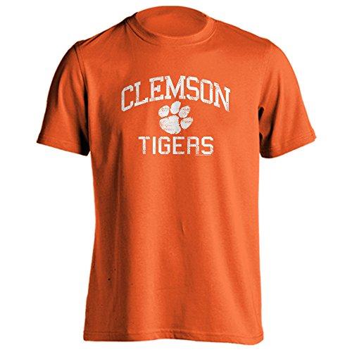 pparel Clemson University Tigers Distressed Retro Logo Tiger Paw Ash Heather Short Sleeve T-Shirt (Orange, L) ()