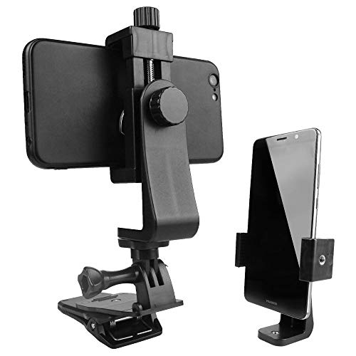 Erchang Universal Phone Tripod Mount Smartphone Tripod Adapter Stand Holder Cell Phone Clip Tripod Clamp Selfie Stick Monopod Camera Bracket Compatible with iPhone, Android and Any Mobile Phone