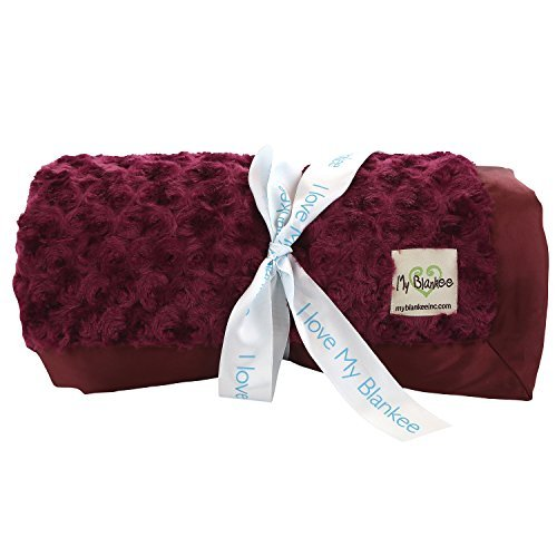 My Blankee Snail Luxe Super Throw Blanket with Flat Satin Border Burgandy 60'' X 70'' [並行輸入品] B07HLFTB89