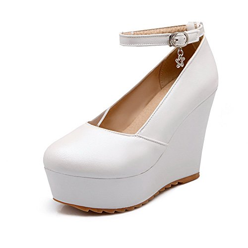 Odomolor Women's Buckle PU Round Closed Toe High Heels Solid Pumps-Shoes White