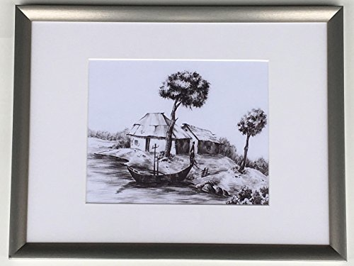 Landscape scene , Beautiful river bank, village, sketch, Boat, Water, Trees, Hut, Home, Scene, painting, Sketch, Wall Decor, Fine art on paper, Kitchen, Living Room, - Hut The Village