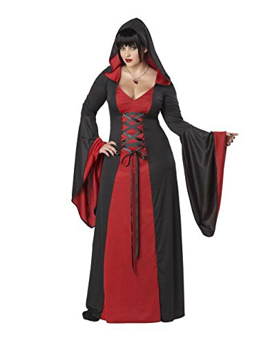 California Costumes Women's Plus-Size Deluxe Hooded Robe Costume, Red/Black 3XL (20-22)