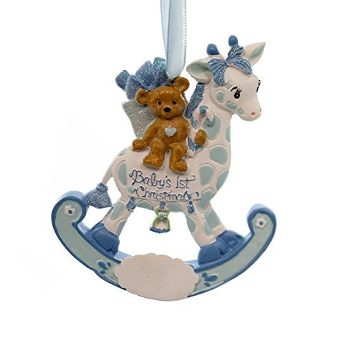 Personalized Ornament ROCKING GIRAFFE BABY'S 1ST Polyresin Christmas H5006 Boy