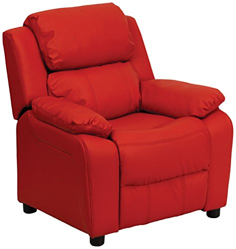 Offex OF-BT-7985-KID-RED-GG Deluxe Heavily Padded Contemporary  Vinyl Kids Recliner with Storage Arms, Red