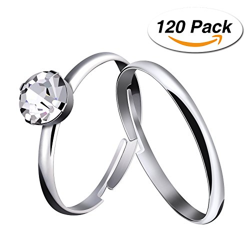 Mtlee 120 Pieces Silver Artificial Diamond Engagement Rings for Wedding Table Decorations, Party Supply