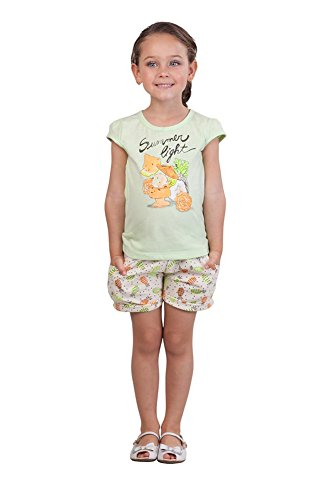 Pulla Bulla Little Girl Set Graphic Shirt and Shorts Outfit Size 6X Sea Foam (Girls 6x Outfit Size)