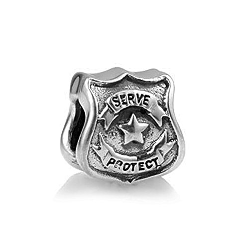 The Kiss Protect Serve Police Officer Badge Cop Shield Patriotic 925 Sterling Silver Bead Fits European Charm Bracelet (Protect - Shield Cop