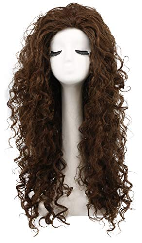 Karlery Women's Fluffy Curly Dark Brown wig Halloween Cosplay Wig Anime Costume Party Wig -