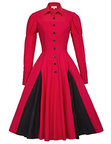Women's Shirt Collar Lolita Victorian Dress Costume Contrast Color BP366-2 S Sleeves Lolita Dress