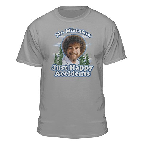 Bob Ross Graphic T-Shirt for Men and Women - No Mistakes, Just Happy Accidents - Short Sleeve, Gray (Small)