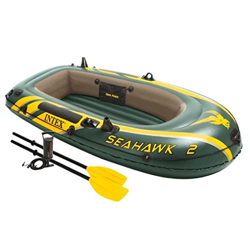 Intex Seahawk Boat Kit - Intex Seahawk 2, 2-Person Inflatable Boat Set with French Oars and High Output Air Pump