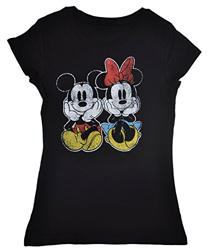 Disney-Juniors-T-Shirt-Mickey-Minnie-Mouse-Front-Back-Print-Distressed