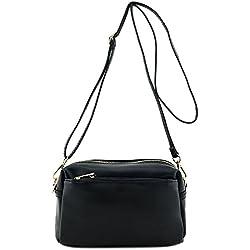 Small Triple Zip Crossbody Bag Black