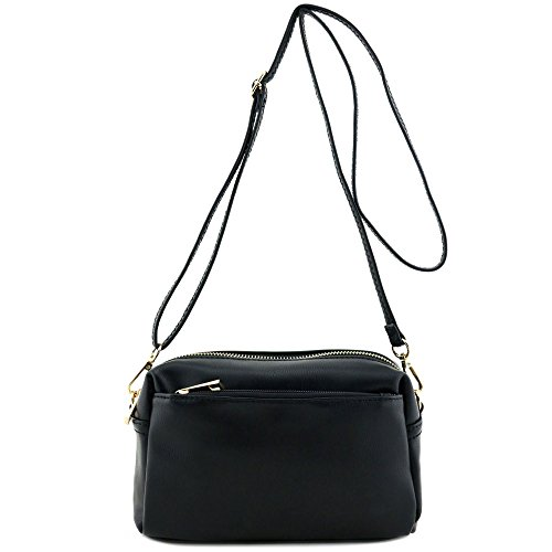 Small Triple Zip Crossbody Bag Black by FashionPuzzle