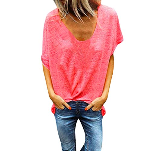 - Tantisy ♣↭♣ Woman Pure Color Top V-Neck Short Sleeves T-Shirt Lady Plus Size Tunics Shirt Blouses Tops/S-5XL Watermelon Red