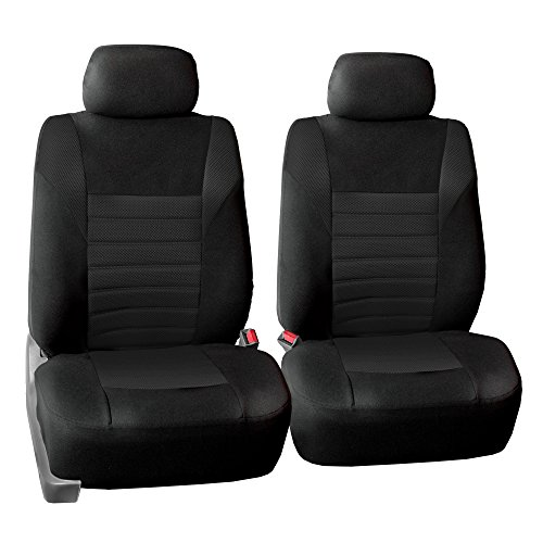 FH Group FB068102 Premium 3D Air Mesh Seat Covers Pair Set (Airbag Compatible), Black Color- Fit Most Car, Truck, SUV, or Van ()