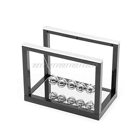 Silver Tone Pendulum - Newton Ball - Early Fun Development Educational Desk Toy Gift Tons Cradle Steel Balance Ball Physics Science - Miniatures Silver Metal Figurines Figurines Miniatures Newton Pendulum Decor Desk