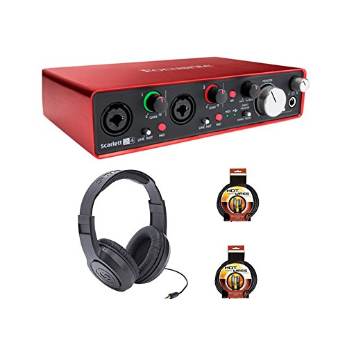 Focusrite 2i4 - Paquete con auriculares y cables XLR