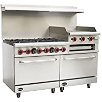 Heavy Duty Commercial 60 Gas 6 Burner Range with 24 Gas Griddle, Broiler & Bottom Oven