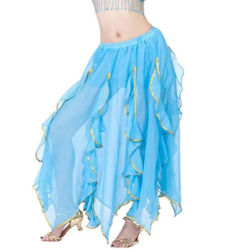 Arabic Dance Costume For Kids (ZYZF Belly Dance Chiffon Lotus Leaf Skirt, Bollywood Arabic Dance Costume)
