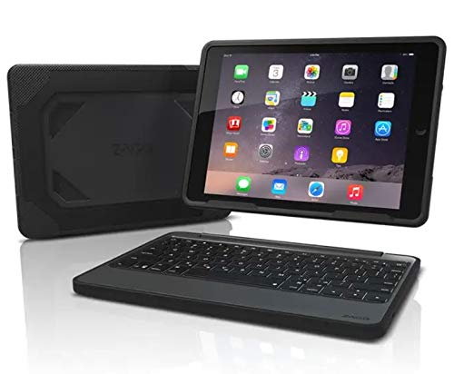 ZAGG Rugged Book Durable Case with Detachable Backlit Bluetooth Keyboard for Apple iPad Pro 9.7 and iPad Air 2 (not made for 2017 5th Gen 9.7) - Black