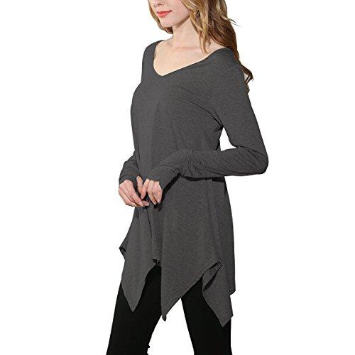 Mujer Casual Camiseta Blusas de Verano V Cuello Irregular Camisas Casual Color Sólido Tops Manga larga Mini vestido Gris oscuro