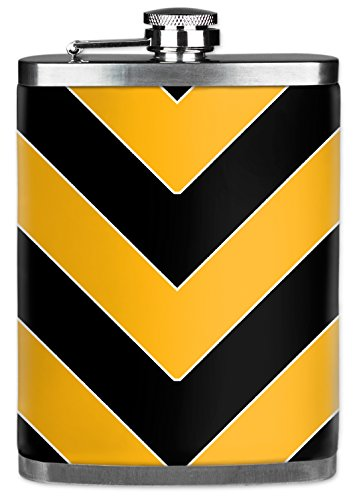 Mugzie brand 7 Oz Hip Flask with Insulated Wetsuit Cover - Pittsburgh Football Colors Chevron