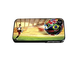 Man Kicking Soccer Ball with World Cup Team Flags Hard Snap on Phone Case (iPhone 4/4s)